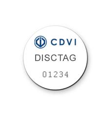 Lot de 25 DISCTAG – Mini badge en PVC avec Adhésif